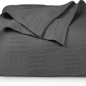 Luxury Cotton Blanket Grey Queen